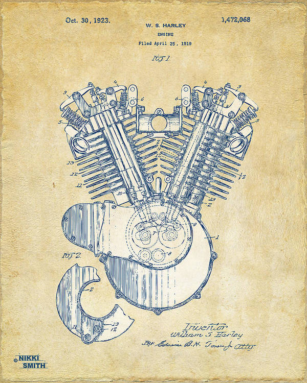 Harley-davidson Poster featuring the drawing Vintage 1923 Harley Engine Patent Artwork by Nikki Marie Smith