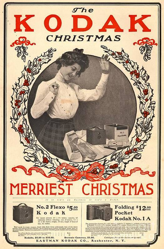 Christmas Poster featuring the photograph Vintage Kodak Christmas Card by Edward Fielding