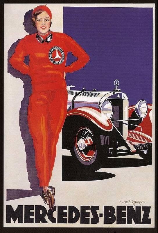 Vintage mercedes benz advert poster by georgia fowler for Vintage mercedes benz posters