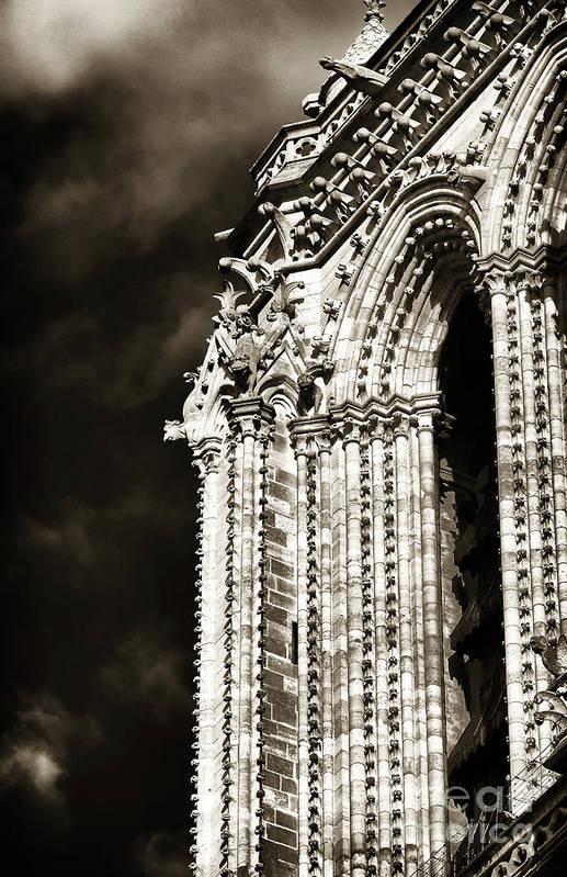 Vintage Notre Dame Details Poster featuring the photograph Vintage Notre Dame Details by John Rizzuto
