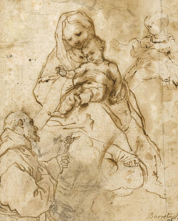 Virgin Mary Poster featuring the drawing Virgin And Child With St. Francis by Federico Fiori Barocci or Baroccio