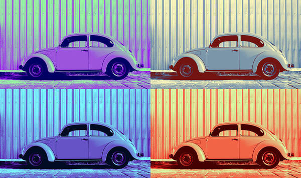 Classic Vw Beetle Car Pop Art Colors 4 Four Square Stripes Blue Purple Lime Green Orange Red Series Gallery Collage Fun Happy Bright Vibrant Pastels Color Colorful Colourful Uplifting Sunny Lively Metallic Sheet Metal Wall Lines Rivets Cobblestone Street Art Gift For Classic German Car Pop Art Lover Laura Fasulo Laurarama Samsung Galaxy Phone Case Iphone Cases Vw Pop Winter Poster featuring the photograph Vw Pop Winter by Laura Fasulo