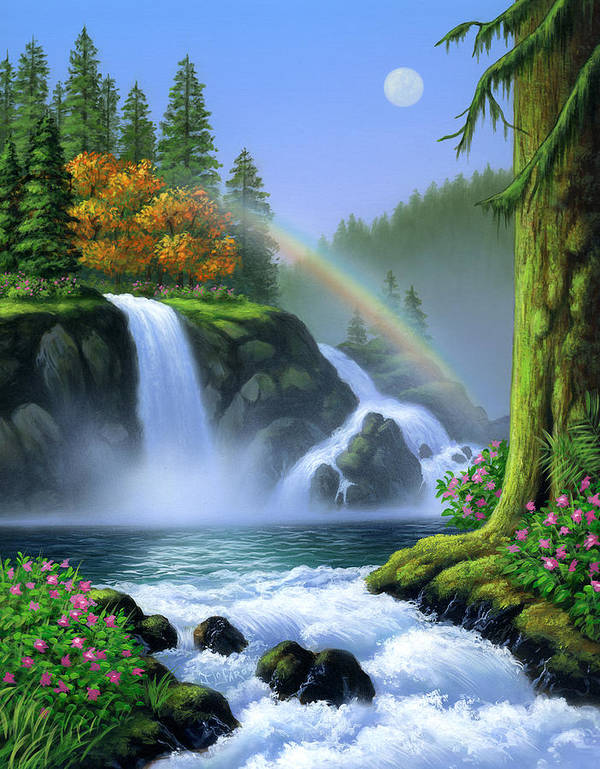 Waterfall Poster featuring the painting Waterfall by Jerry LoFaro