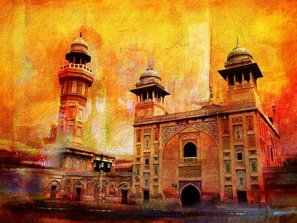 Pakistan Poster featuring the painting Wazir Khan Mosque by Catf