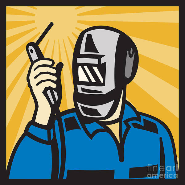 Male Poster featuring the digital art Welder With Welding Torch Visor Retro by Aloysius Patrimonio