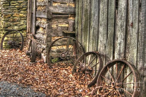 Wagon Wheel Poster featuring the photograph Wheels Of Time Two by Benanne Stiens