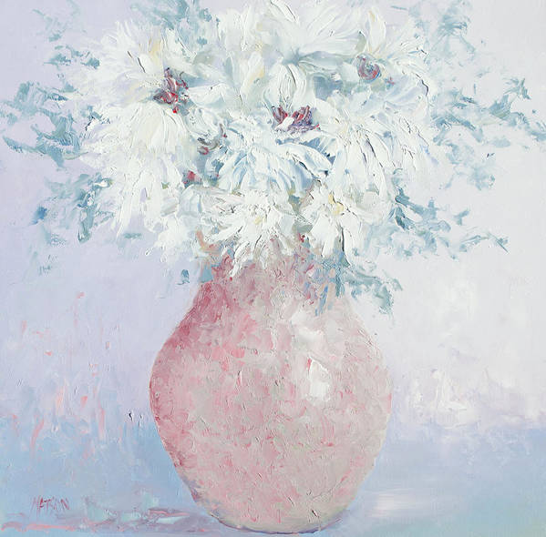White Chrysanthemums Poster featuring the painting White Chrysanthemums by Jan Matson