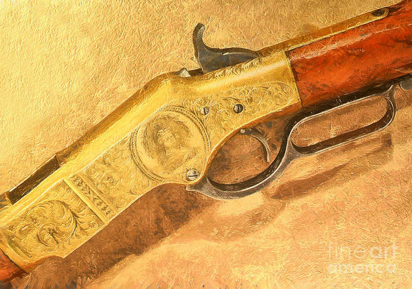 Poster featuring the painting Winchester 1866 Yellow Boy Rifle by Odon Czintos