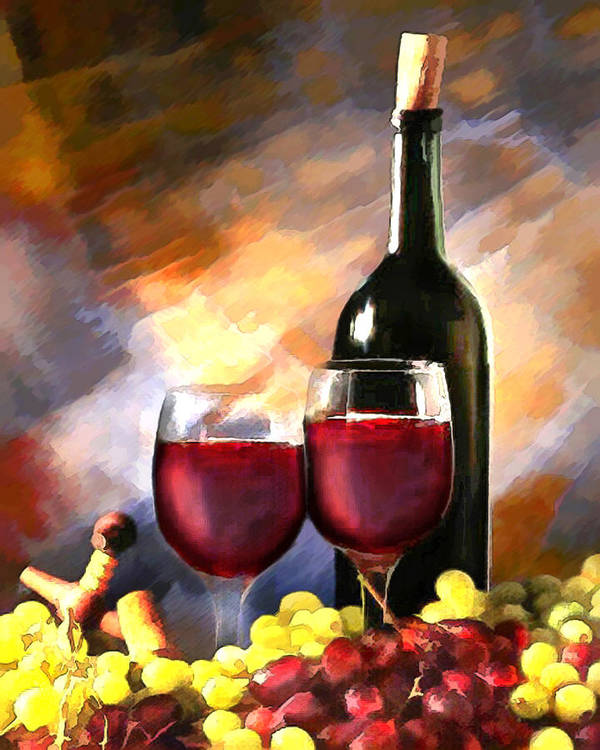 Wine Poster featuring the painting Wine Before And After by Elaine Plesser