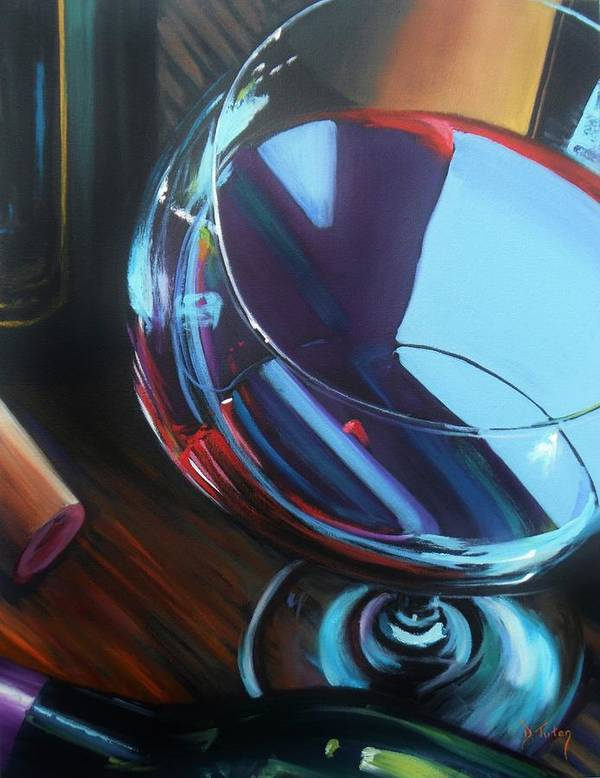 Wine Poster featuring the painting Wine Reflections by Donna Tuten