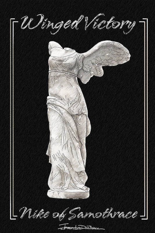 Statue Poster featuring the painting Winged Victory - Nike Of Samothrace by Jerrett Dornbusch