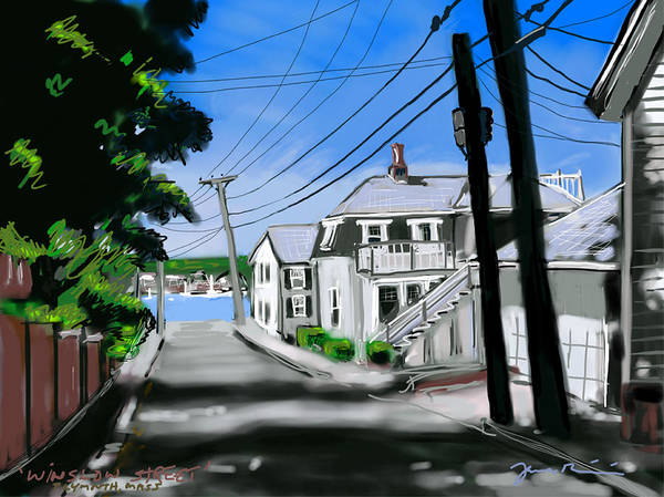 Winslow Poster featuring the painting Winslow Street by Jean Pacheco Ravinski