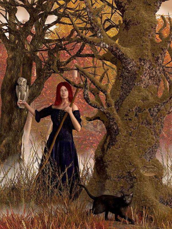Autumn Poster featuring the digital art Witch Of The Autumn Forest by Daniel Eskridge