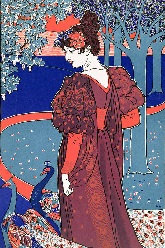 Portrait Poster featuring the painting Woman With Peacocks by Louis John Rhead