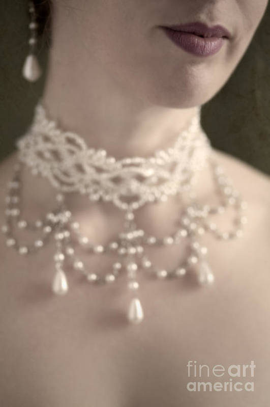 Woman Poster featuring the photograph Woman With Pearl Choker Necklace by Lee Avison