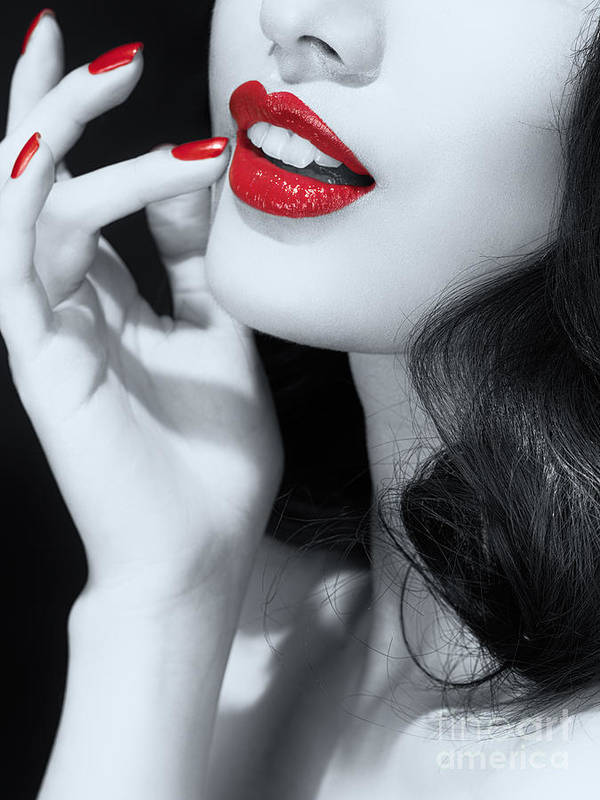 Lips Poster featuring the photograph Woman With Red Lipstick Closeup Of Sensual Mouth Black And White by Oleksiy Maksymenko