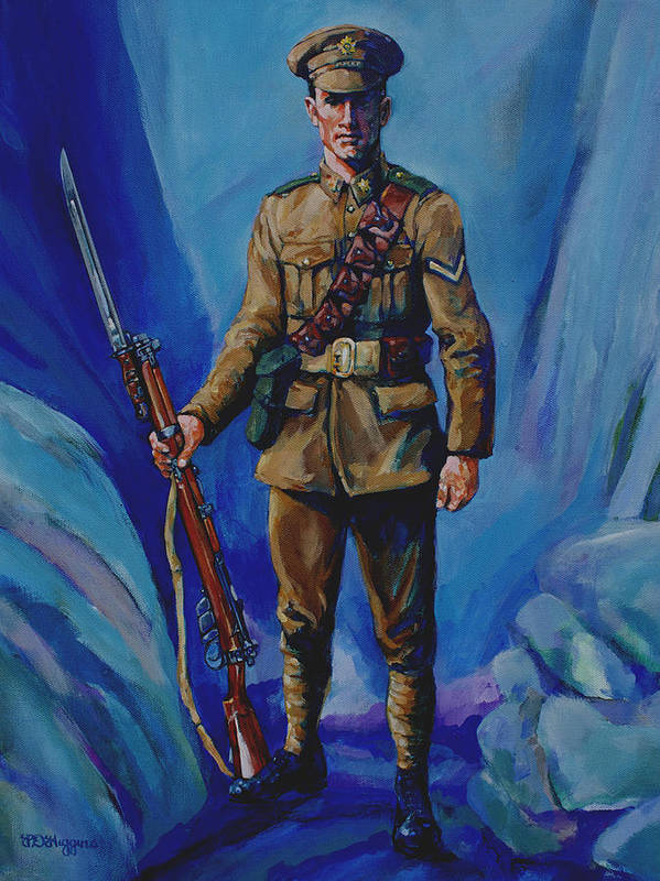 Soldier Poster featuring the painting Ww 1 Soldier by Derrick Higgins
