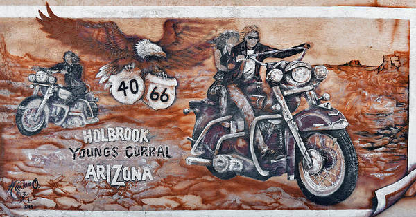 Youngs Poster featuring the photograph Young's Corral In Holbrook Az On Route 66 - The Mother Road by Christine Till