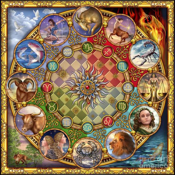Ciro Marchetti Framed Prints Poster featuring the digital art Zodiac Mandala by Ciro Marchetti