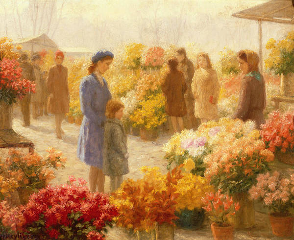 Flower Poster featuring the painting Flower Market by Hendrik Heyligers