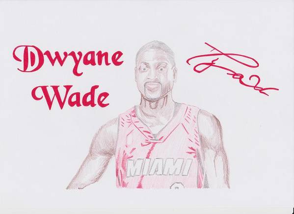 Dwyane Poster featuring the drawing Dwyane Wade by Toni Jaso