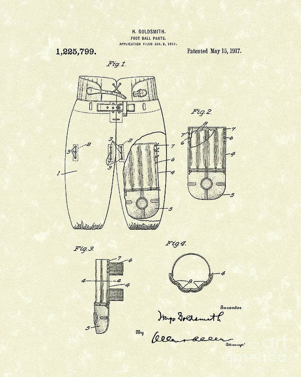 Goldsmith Poster featuring the drawing Football Pants 1917 Patent Art by Prior Art Design