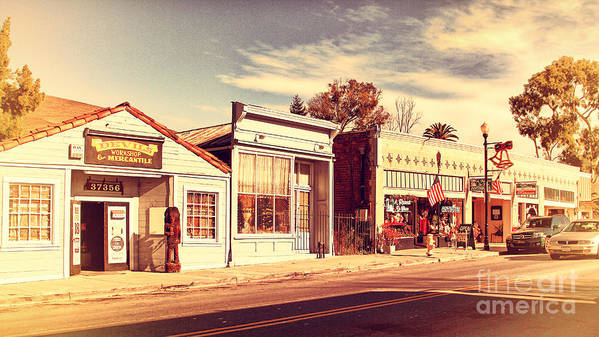 Retro Poster featuring the photograph Historic Niles District In California Near Fremont . Main Street . Niles Boulevard . 7d10676 by Wingsdomain Art and Photography
