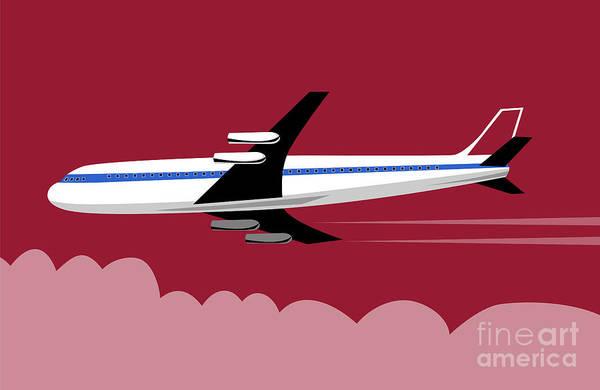 Commercial Poster featuring the digital art Jumbo Jet Plane Retro by Aloysius Patrimonio