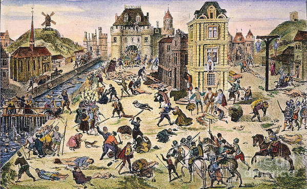 1572 Poster featuring the photograph Massacre Of Huguenots by Granger