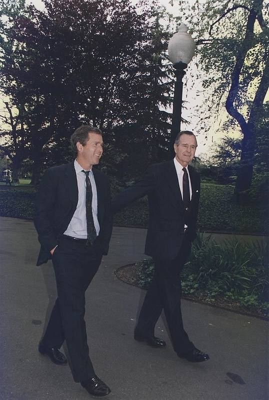History Poster featuring the photograph President George H.w. Bush Walks by Everett