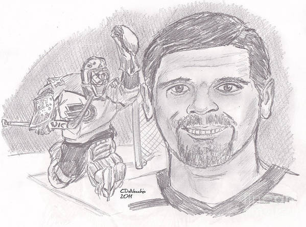 Flyers Poster featuring the drawing Ron Hextall by Chris DelVecchio
