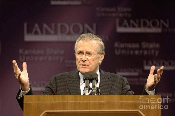 Addressing Poster featuring the photograph Secretary Of Defense Donald H. Rumsfeld by Stocktrek Images