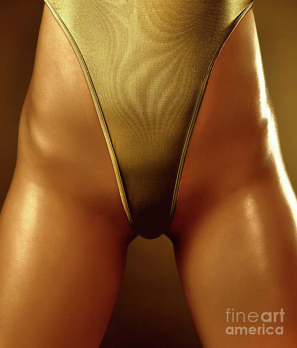 Swimsuit Poster featuring the photograph Sexy Covered With Gold Woman In High Cut Swimsuit by Oleksiy Maksymenko