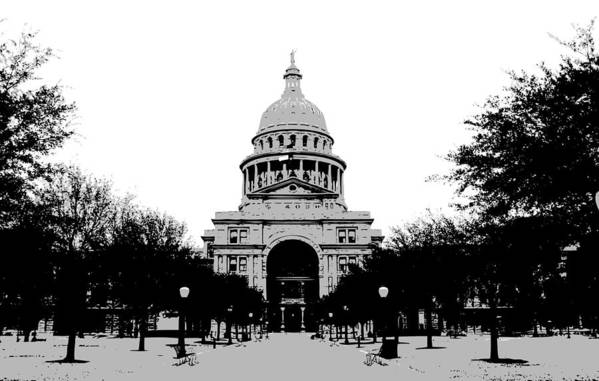 Capitol Of Texas Poster featuring the photograph Texas Capitol Bw3 by Scott Kelley