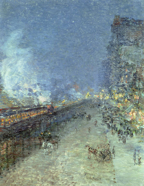 American Impressionist; Street; Rain; Tram; Lights; Night; The Ten Group; Nyc; Manhattan; Public Transport System; Impressionism Poster featuring the painting The El by Childe Hassam