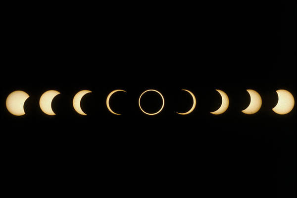 Eclipse Poster featuring the photograph Time-lapse Image Of A Solar Eclipse by Dr Fred Espenak