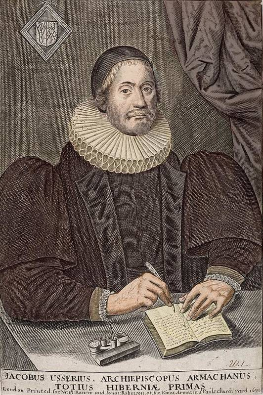 17th Century Science Poster featuring the photograph 1650 Bishop Usher Portrait Tinted 4004bc by Paul D Stewart
