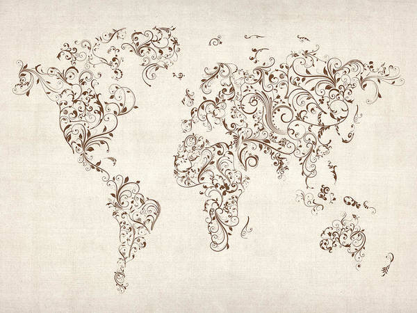 World Map Poster featuring the digital art Map Of The World Map Floral Swirls by Michael Tompsett