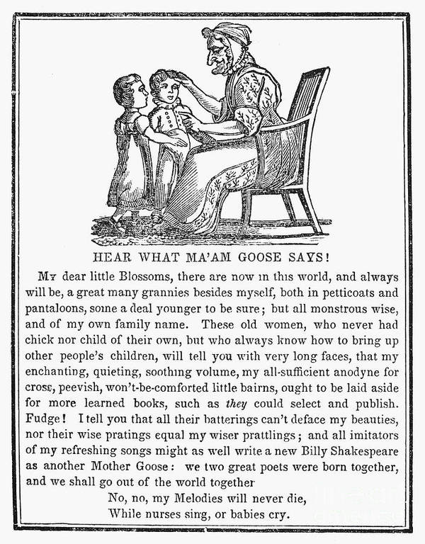 1833 Poster featuring the photograph Mother Goose, 1833 by Granger