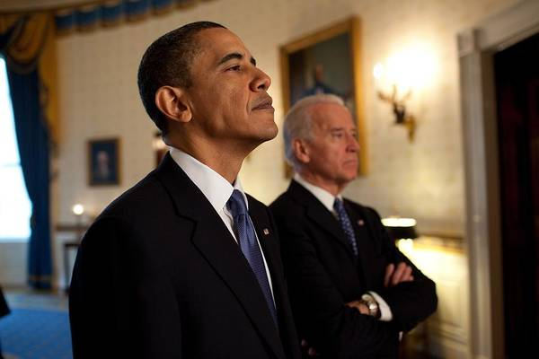 History Poster featuring the photograph President Obama And Vp Biden by Everett