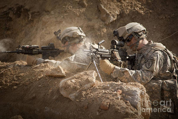 Special Operations Forces Poster featuring the photograph U.s. Army Rangers In Afghanistan Combat by Tom Weber
