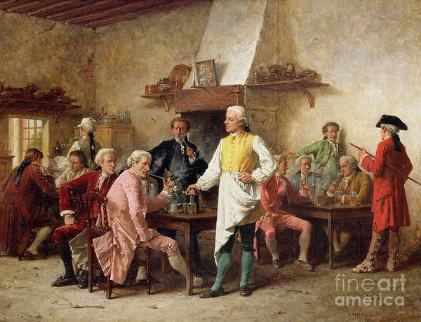 Tricorn; Interior; Tavern; Drink; Gentleman; Smoking; Discussion; Waiter; Serveur; Tablier; Apron; Inn; Male; Males; Group; Yellow; Green Red; Pink Poster featuring the painting A Gentleman's Debate by Benjamin Eugene Fichel