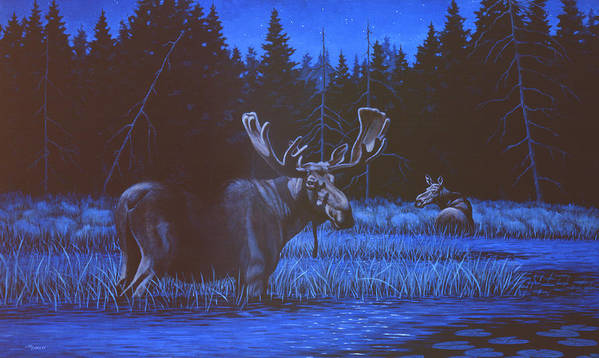 Moose Poster featuring the painting Algonquin Moonlight by Richard De Wolfe