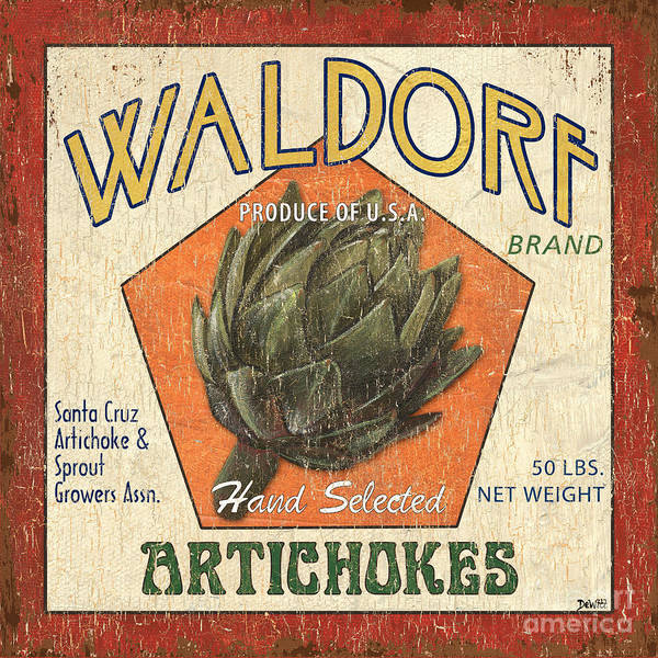 Artichokes Poster featuring the painting Americana Veggies by Debbie DeWitt