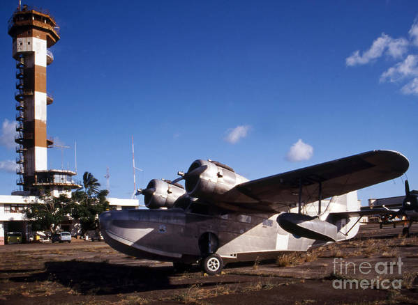 Aircraft Poster featuring the photograph Antique Navy Seaplane Parked In Front by Michael Wood