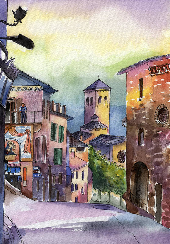 Watercolour Poster featuring the painting Assisi Street Scene by Lydia Irving