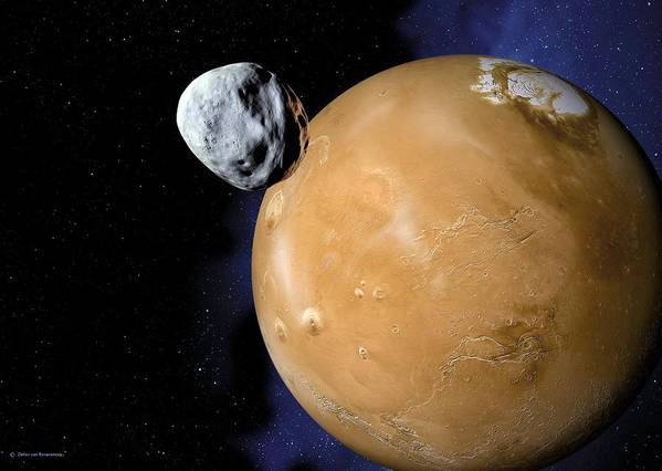 Mars Poster featuring the photograph Asteroid Near Mars, Artwork by Detlev Van Ravenswaay