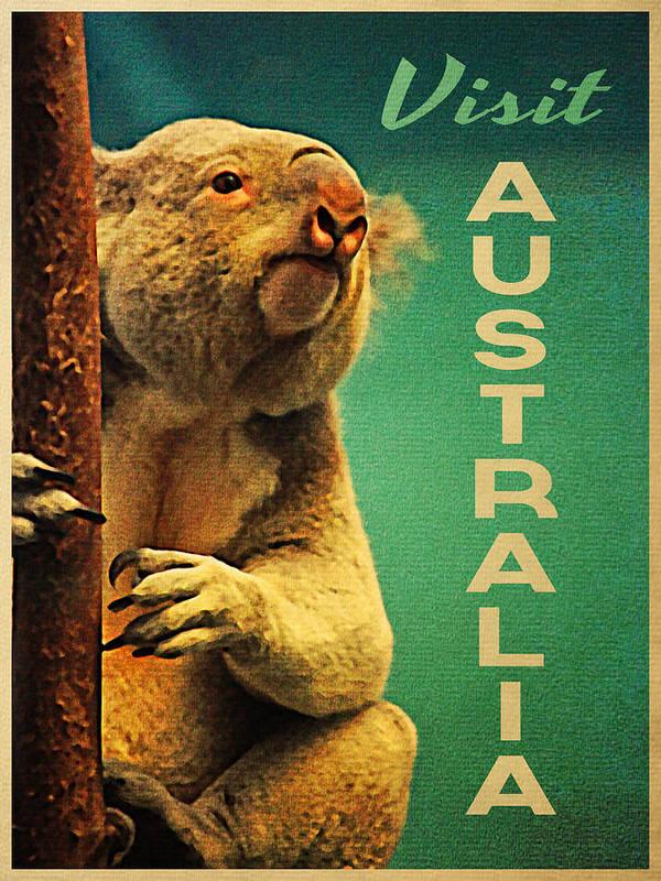 Koala Poster featuring the digital art Australia Koala by Flo Karp