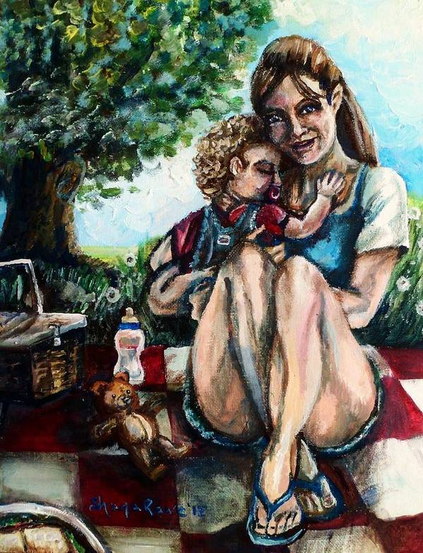 Mom Poster featuring the painting Baby's First Picnic by Shana Rowe Jackson