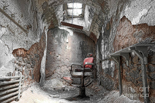 Eastern State Penitentiary Poster featuring the photograph Barber - Chair - Eastern State Penitentiary by Paul Ward
